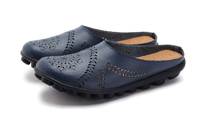 Deep Blue Slipper Slip On Leather Nodule Shoes