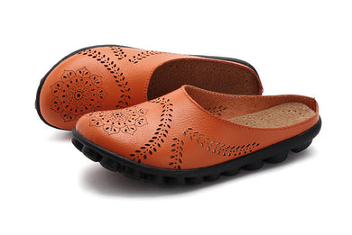 Orange Slipper Slip On Leather Nodule Shoes