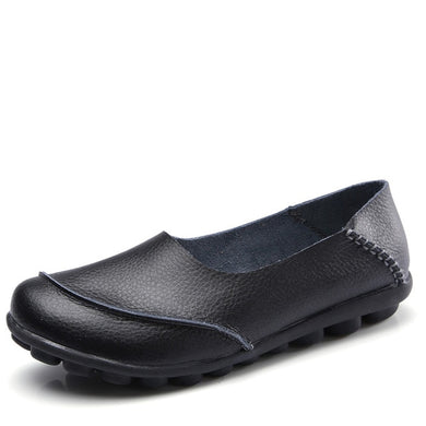 Black Round Toe Plain Leather Nodules