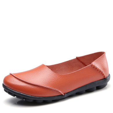 Orange Round Toe Plain Leather Nodules