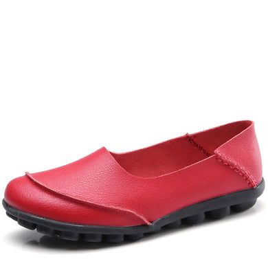 Red Round Toe Plain Leather Nodules