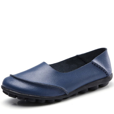 Deep Blue Round Toe Plain Leather Nodules