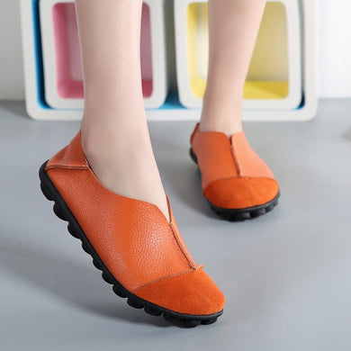 Orange Round Toe Slip On Middle Seam Nodules