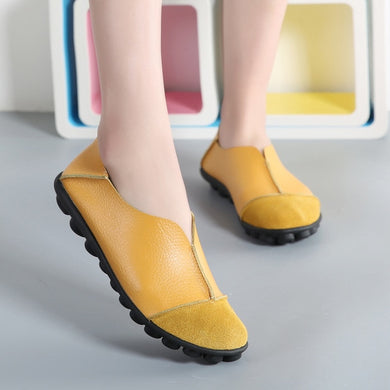 Yellow Round Toe Slip On Middle Seam Nodules