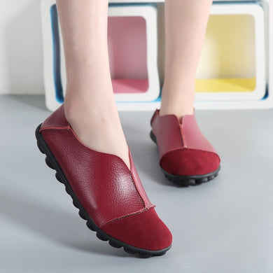 Wine Red Round Toe Slip On Middle Seam Nodules