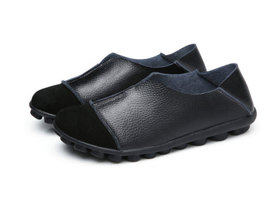 Black Round Toe Slip On Middle Seam Nodules