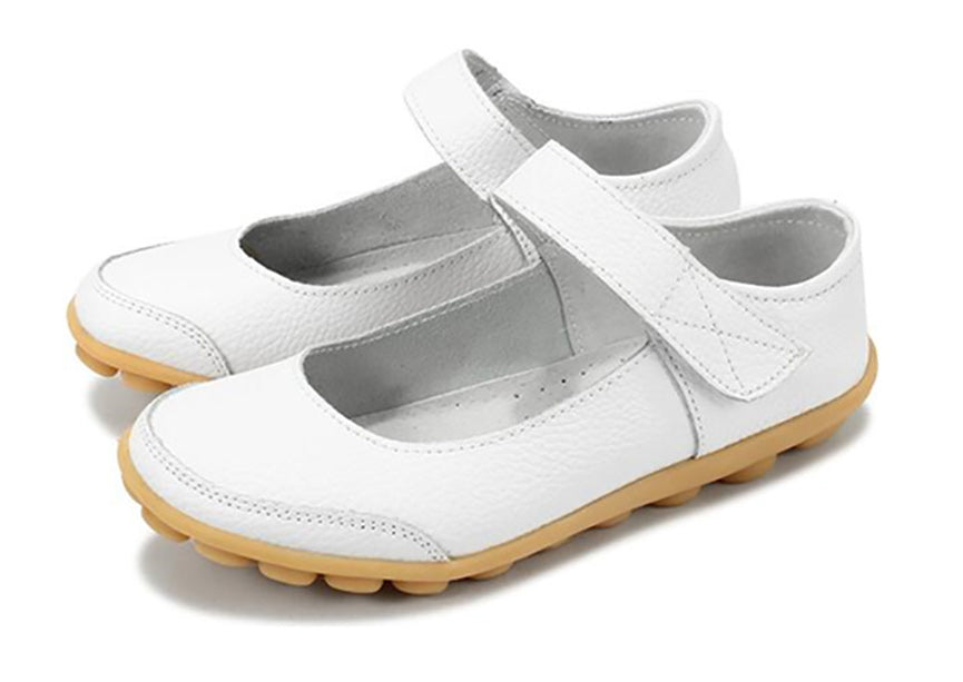 White Mary Jane Nodule Shoe