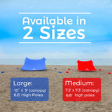 Blue Lycra Beach Sun Shade Canopy Tent! - NEW & IMPROVED V5 with Pole Anchors
