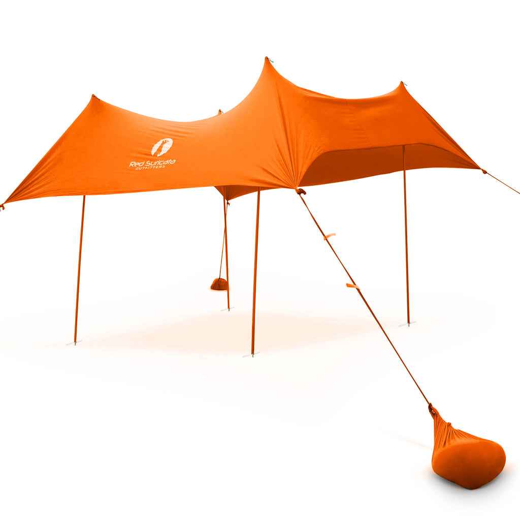 Red Suricata Orange Family Beach Sun Shade Canopy Tent Sunshade with sand anchors
