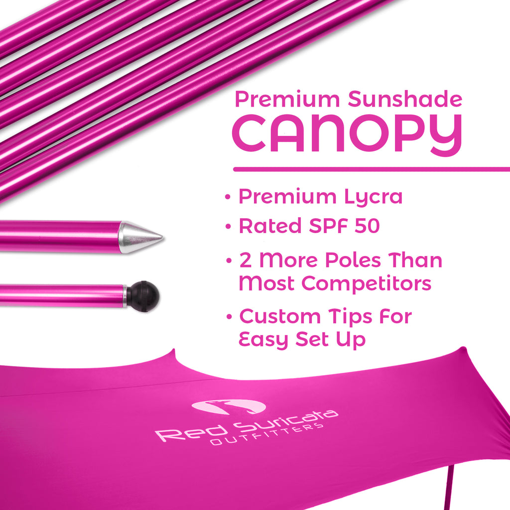 Pink Lycra Beach Sun Shade Canopy Tent! - NEW & IMPROVED V5 with Pole Anchors