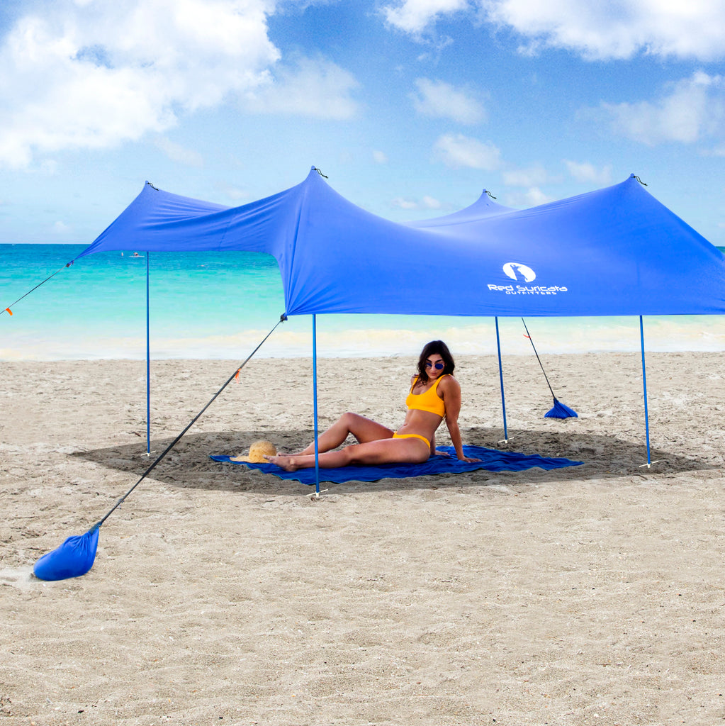 Blue Lycra Beach Sun Shade Canopy Tent! - NEW & IMPROVED V6 with Pole Anchors, Mini Shovel & Towel Hooks