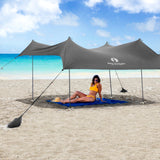 Grey Lycra Beach Sun Shade Canopy Tent! - NEW & IMPROVED V6 with Pole Anchors, Mini Shovel & Towel Hooks