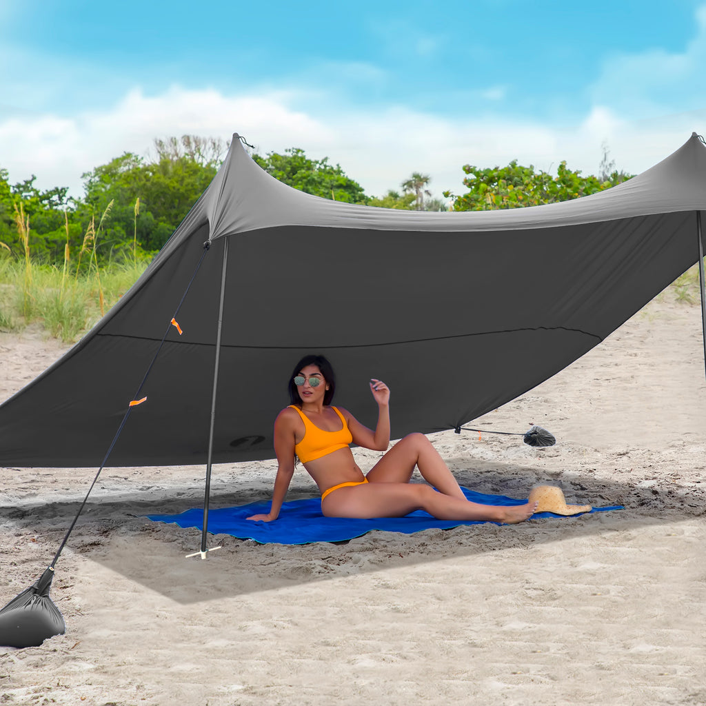 Red Suricata Grey Family Beach Sun Shade Canopy Tent Sunshade with sand anchors