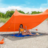 Orange Lycra Beach Sun Shade Canopy Tent! - NEW & IMPROVED V5 with Pole Anchors