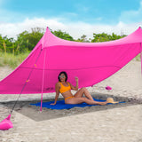 Pink Lycra Beach Sun Shade Canopy Tent! - NEW & IMPROVED V6 with Pole Anchors, Mini Shovel & Towel Hooks