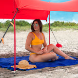 Red Lycra Beach Sun Shade Canopy Tent! - NEW & IMPROVED V6 with Pole Anchors, Mini Shovel & Towel Hooks