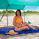 Turquoise Lycra Beach Sun Shade Canopy Tent! - NEW & IMPROVED V6 with Pole Anchors, Mini Shovel & Towel Hooks