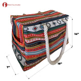 Red Suricata Paiute Style Large Waterproof Boho Beach Bag with Rope Handles