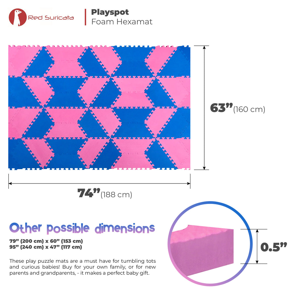 Red Suricata Blue & Pink Hexamat - Play Spot Foam Mat Puzzle Tiles