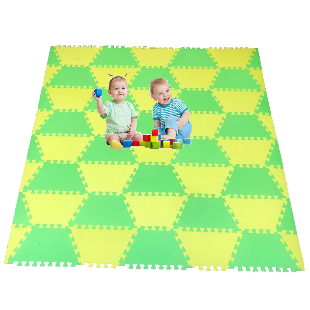 Red Suricata Green & Yellow Hexamat - Play Spot Foam Mat Puzzle Tiles
