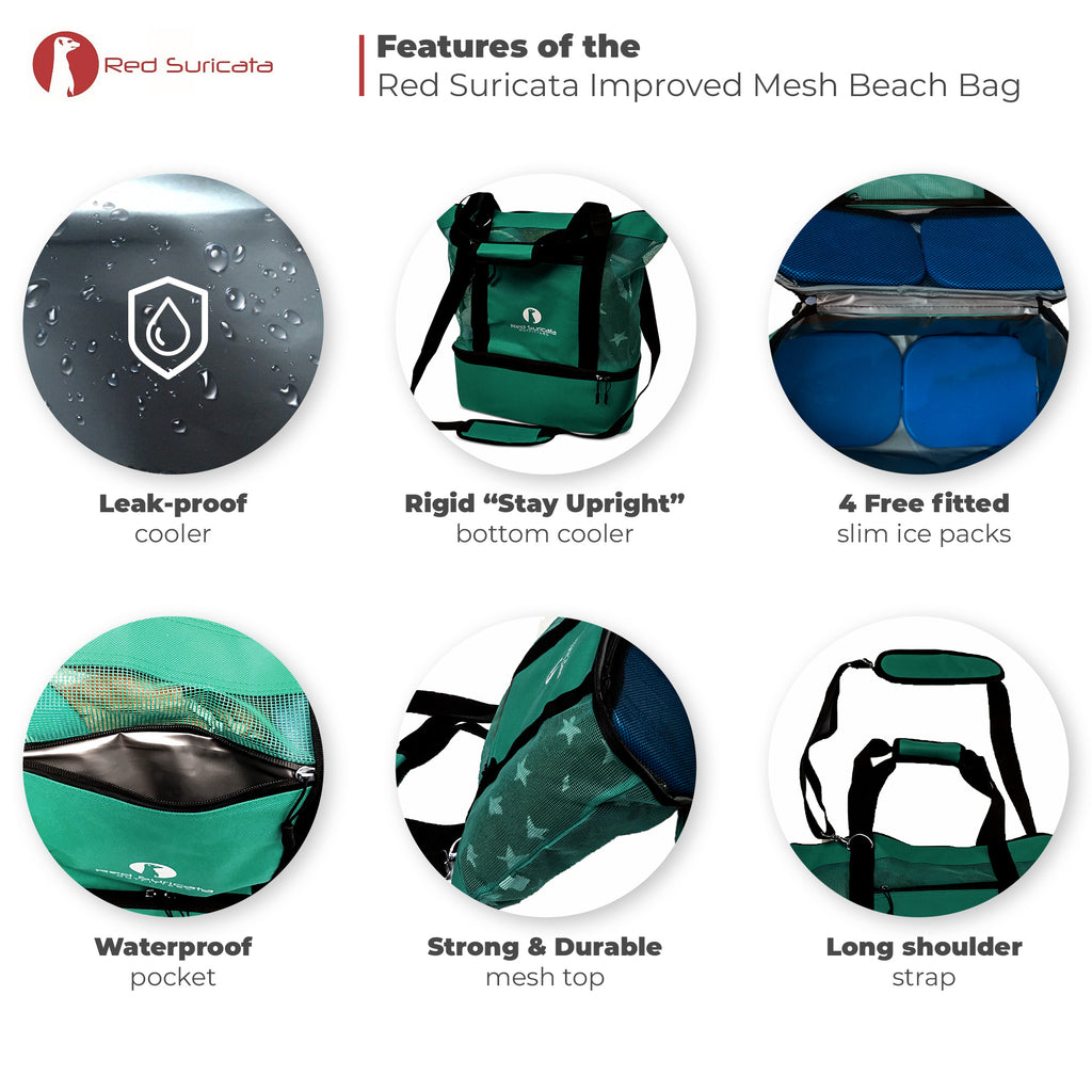 Red Suricata Turquoise Combo Mesh Beach Bag Tote & Cooler including 4 ice packs