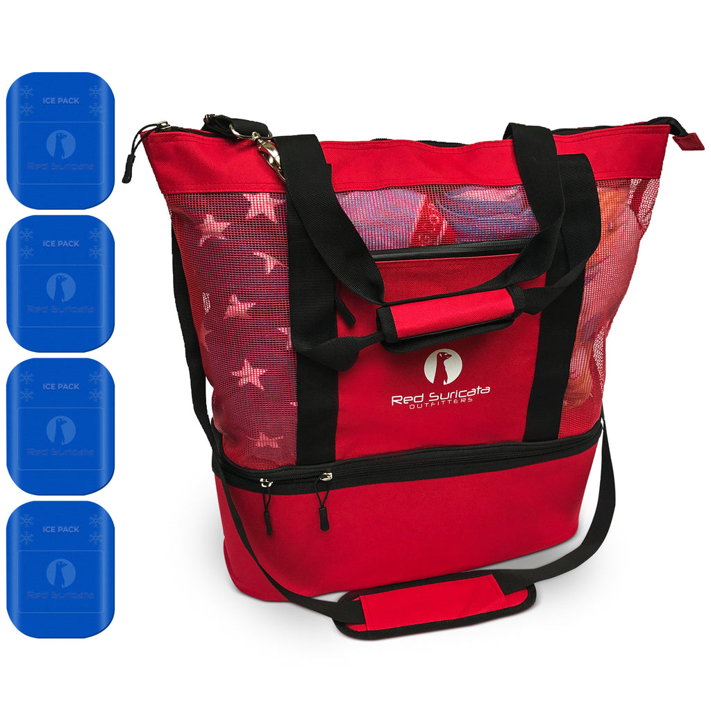 Red Combo Beach Bag & Cooler + 4 ice packs