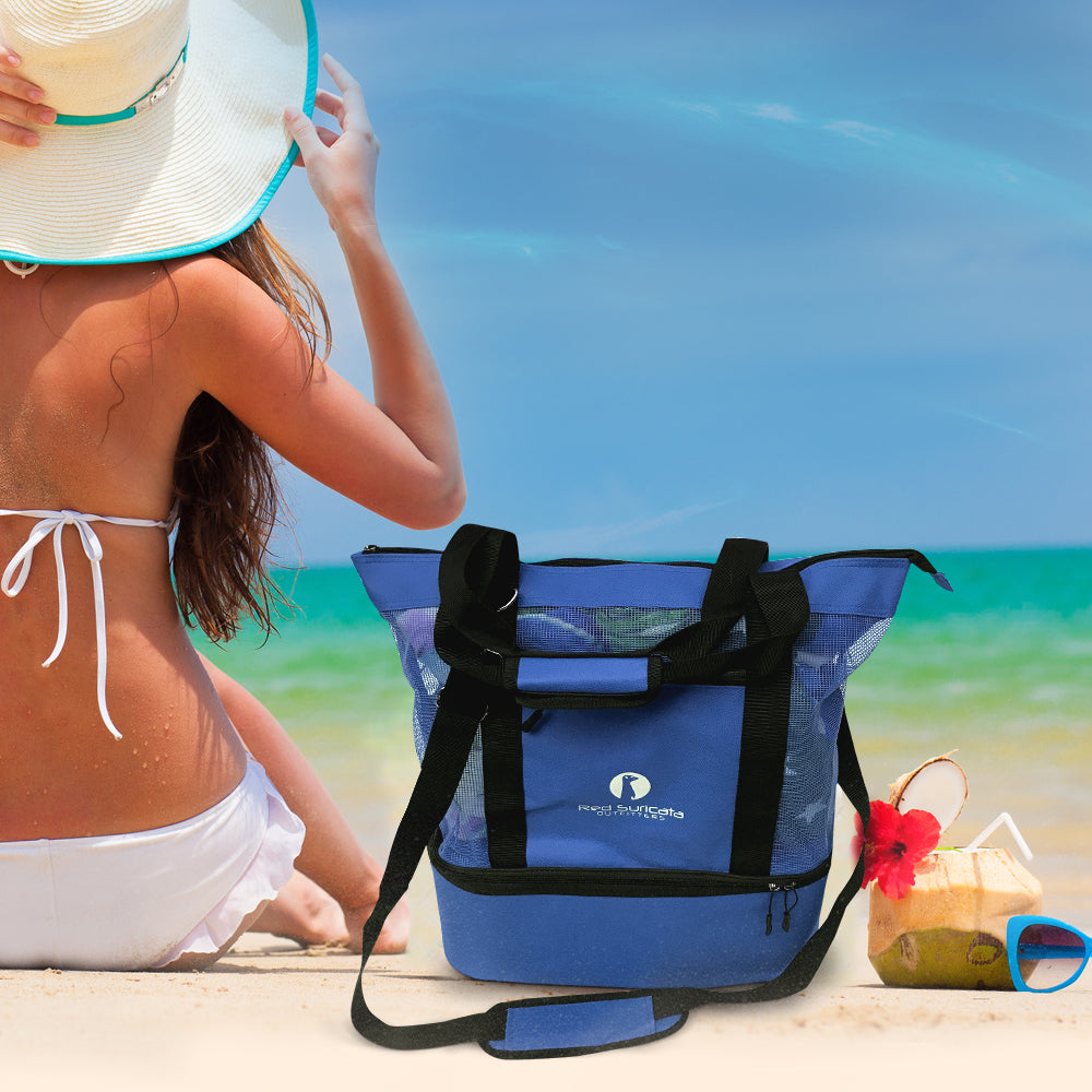 Blue Combo Beach Bag & Cooler + 4 ice packs