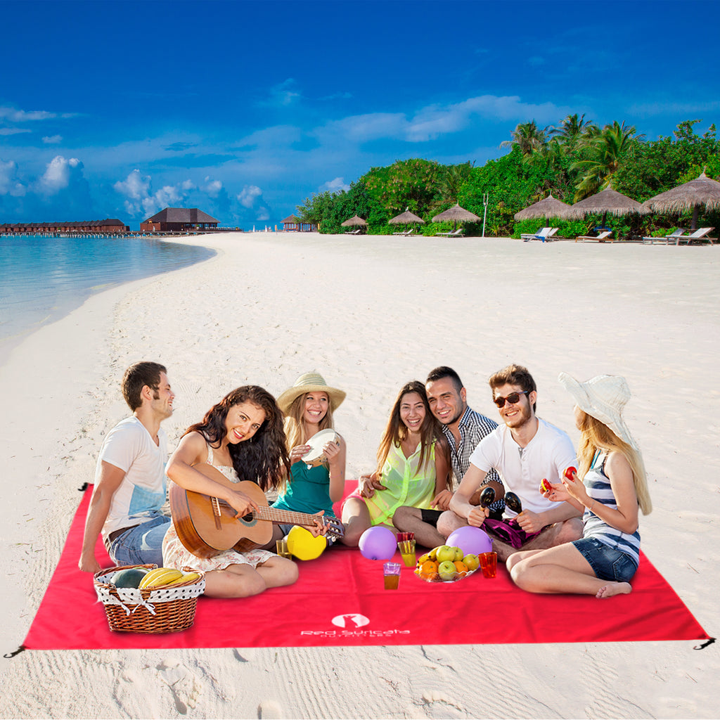 Red Sand Free Beach Mat Blanket – Compatible with Red Beach Sun Shade Canopy