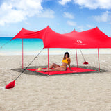 Red Suricata Red Sand Free Beach Mat Blanket – Compatible with Red Beach Sun Shade Canopy
