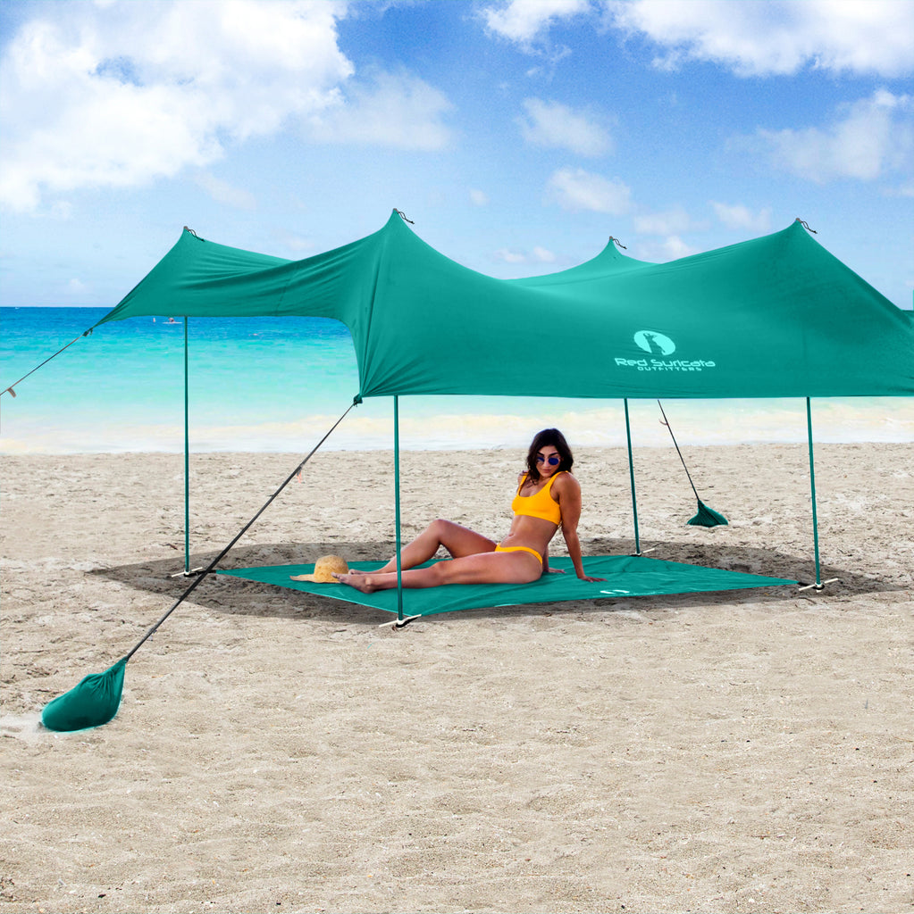 Red Suricata Turquoise Sand Free Beach Mat Blanket – Compatible with Turquoise Beach Sun Shade Canopy
