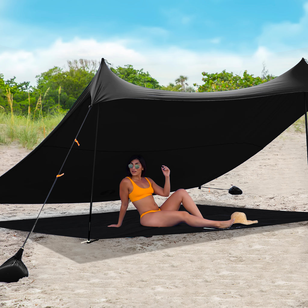 Red Suricata Black Sand Free Beach Mat Blanket – Compatible with Black Beach Sun Shade Canopy