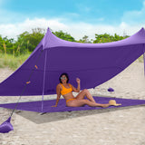 Purple Sand Free Beach Mat Blanket – Compatible with Purple Beach Sun Shade Canopy
