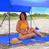 Blue Sand Free Beach Mat Blanket – Compatible with Blue Beach Sun Shade Canopy