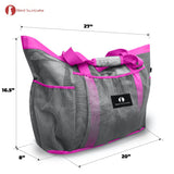 Red Suricata XL Mesh Beach Bag Tote -  Grey & Pink