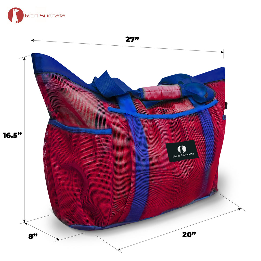 XL Mesh Beach Bag -  Red & Blue
