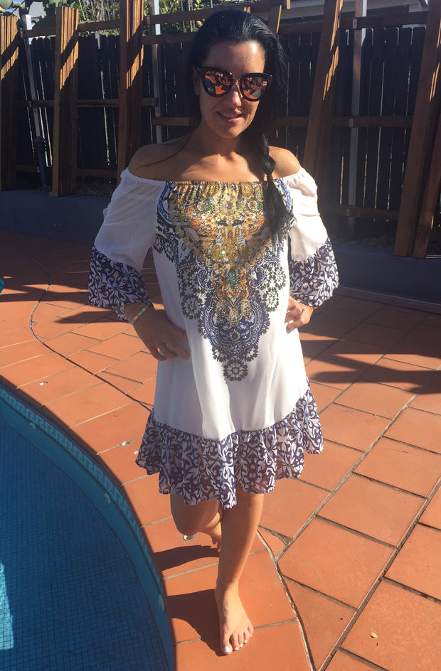 Off the shoulder kaftan style dress