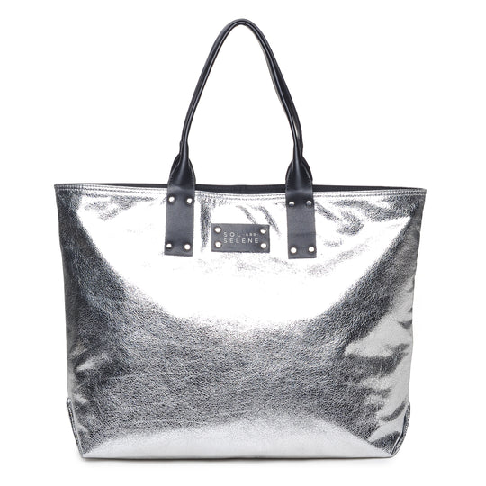 Sol & Selene IT Girl Tote Metallic Silver Bag