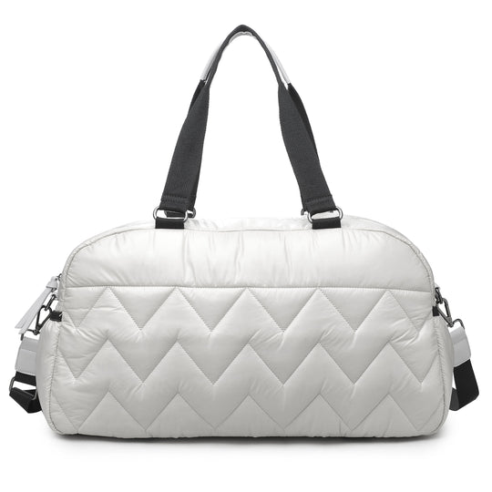 Sol & Selene Walk this Way Duffle Gym Tote Bag Oyster White