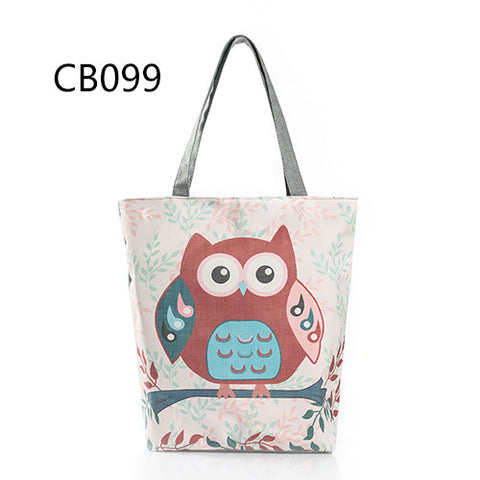 Owl Printed Canvas Tote FREE SHIPPING