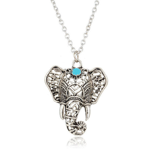 Blue Stone Vintage Elephant Pendant Necklaces