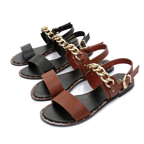 Leather Sandals With Metal Chain