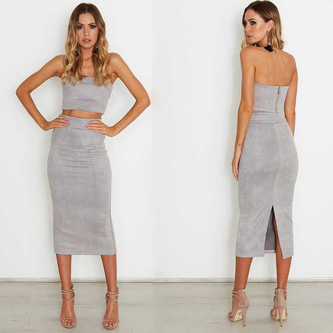 Back Split Midi Skirt