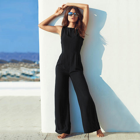 Backless Jumpsuits,Wide Leg,Slim High Waist,Sleeveless,Backless,Romper,Playsuit,Jumpsuit,Elegant