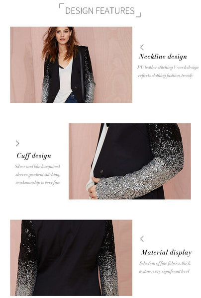 Patchwork Black Silver Sequins Jackets FREE SHIPPING