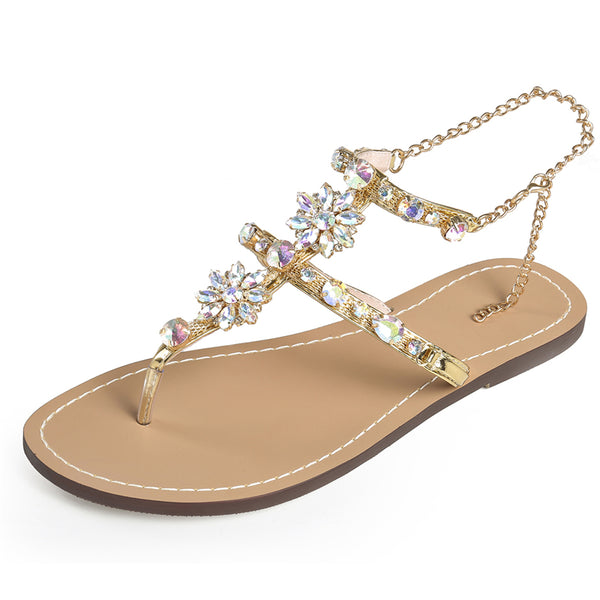 Rhinestones Chains Flat Sandals FREE SHIPPING
