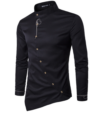 Oblique Button Dress Shirts