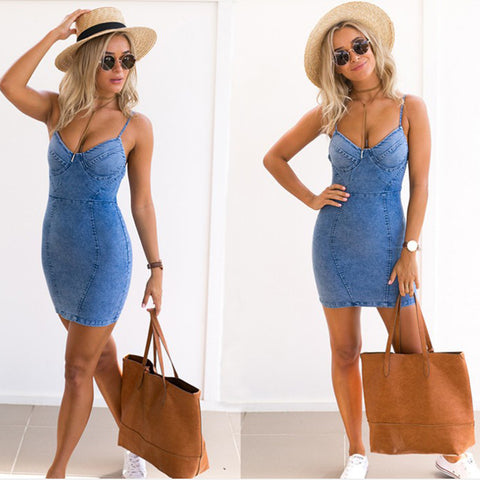 Backless  Denim Dress ,Summer,Spaghetti Strap Zipper,Jeans Dress,Above Knee