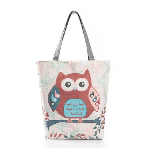 Floral And Owl Printed  Casual Tote FREE SHIPPING