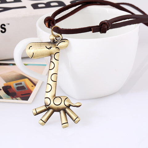 Giraffe Leather Rope Pendant Necklaces