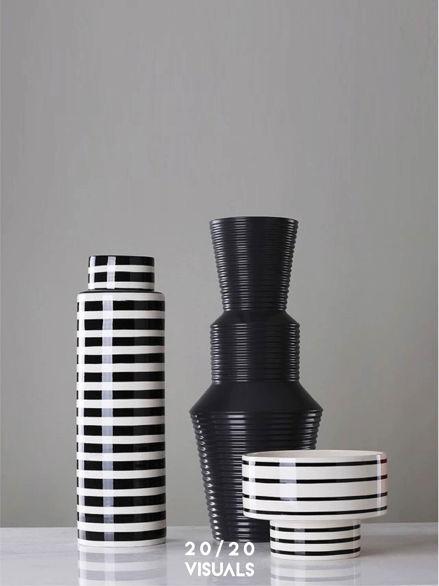 Ribbed Tower Vase